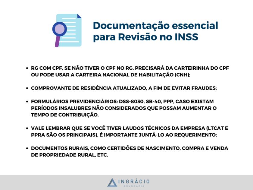 Documentação para solicitar Revisão de Benefício