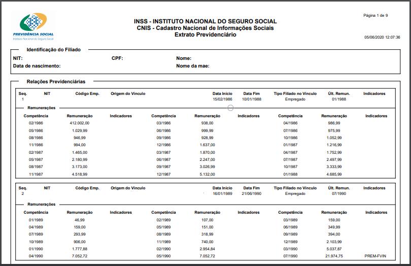 Modelo de CNIS para aposentadoria especial.