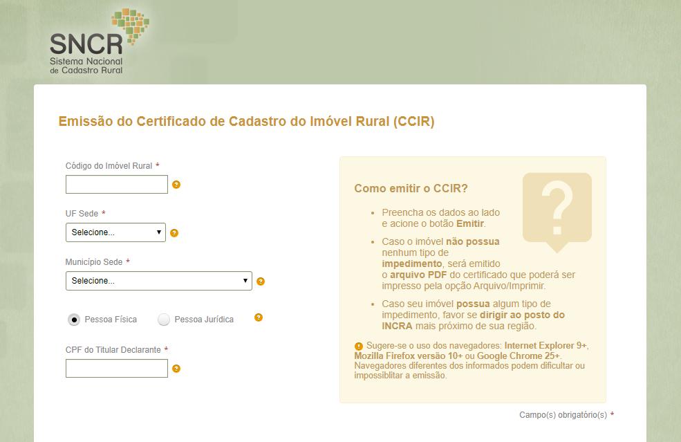 Certificado de cadastro do imóvel rural CCIR.