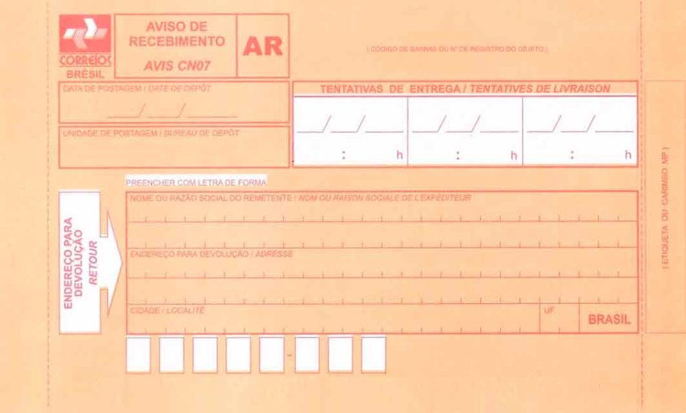 Exemplo de carta de recebimento.