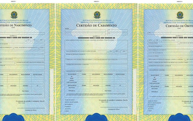 Certidões de nascimentos servem como documento para se aposentar.
