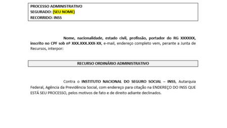 Modelo e recurso administrativo.